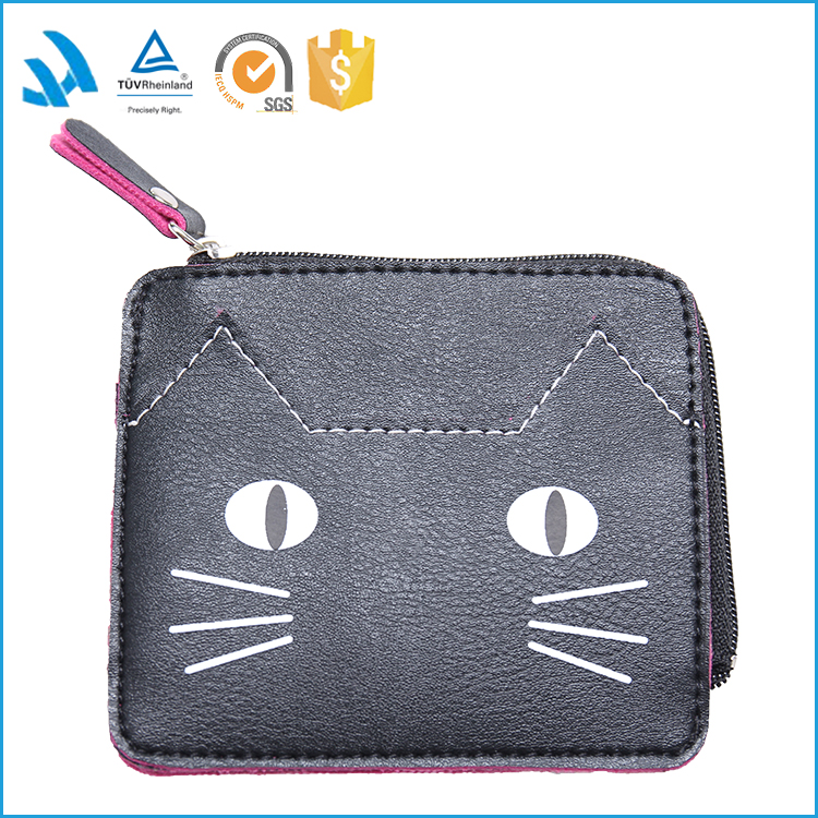 Promotional PU mini coin purse with zipper and wriststrap