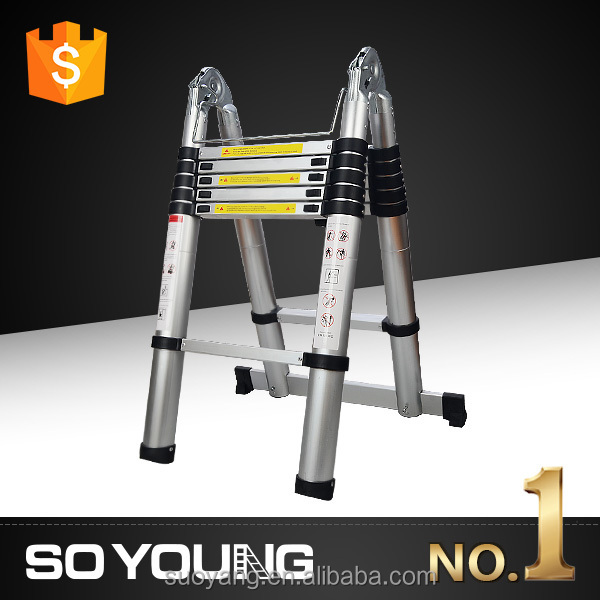 Aluminum kinder surprise Telescopic Ladder Multi Purpose Foldable & Extendable Ladder with steps for vans (8+8 Steps)