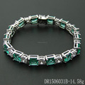 Fine Sterling Silver Green Spinel Bracelet Charm For Birthday DR1506031B
