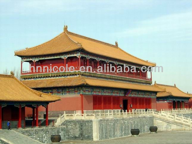 Traditional construction material gold yellow tiles roof for Museum or Palace