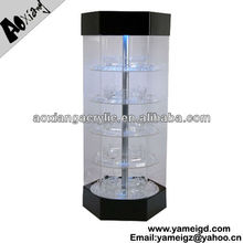With LED Lights lock Rotating Acrylic Display Case For Jewelry/phone