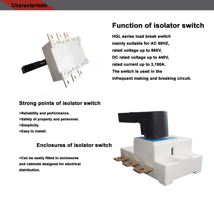 400A electric ac power low voltage isolator switch 3 phase