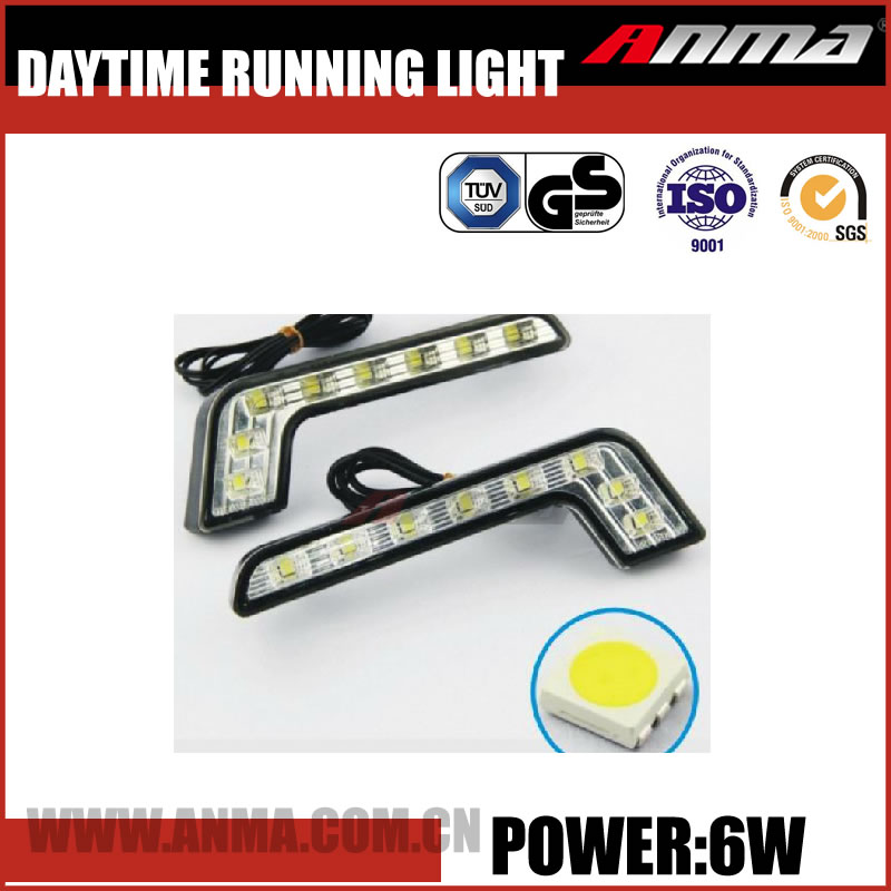 Customize Universal top new style Slim swift 6w solar power white,Yellow Car LED daytime running light AM750V62