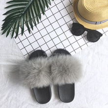 Women Shoes Fur Customized Luxury Fox Fur Sandals Cheap Fur Slides
