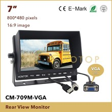 7 Inch Car HD 800 x 480 Color TFT LCD RearView Monitor with HDMI VGA