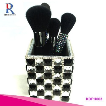 Fashion bling rhinestone plastic pen holder for office supplies