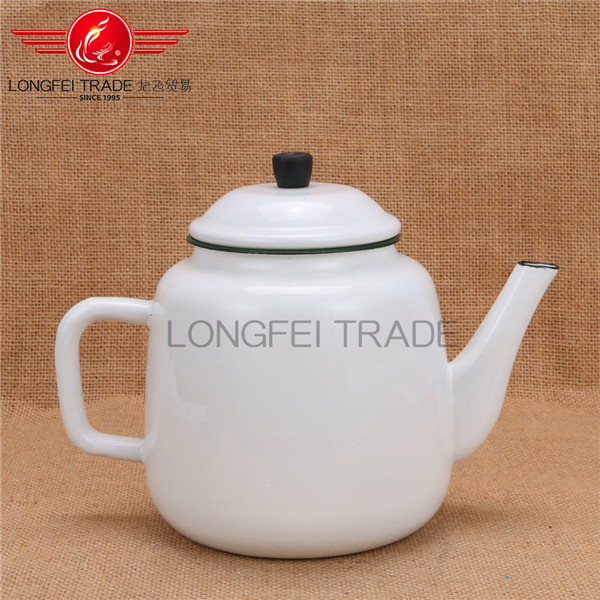 White enamel turkish kettle / enamel tea kettle / teapot