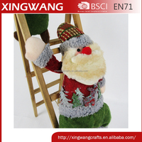 Wood christmas decorative ladder with plush santa and snowman doll