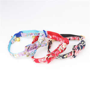 Brand New Cute Nylon Retractable Bowknot Dog Collar with Bell