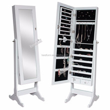 2017 Free Standing Lockable Full Length Mirrored Jewelry Cabinet Armoire