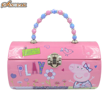 Piggy cute round lock storage totes gift tin box with handle