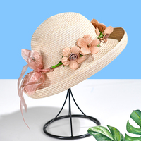 Wholesale Ladies Stylish Beautiful Straw Cloche Hat with Artifical Floral Hoop
