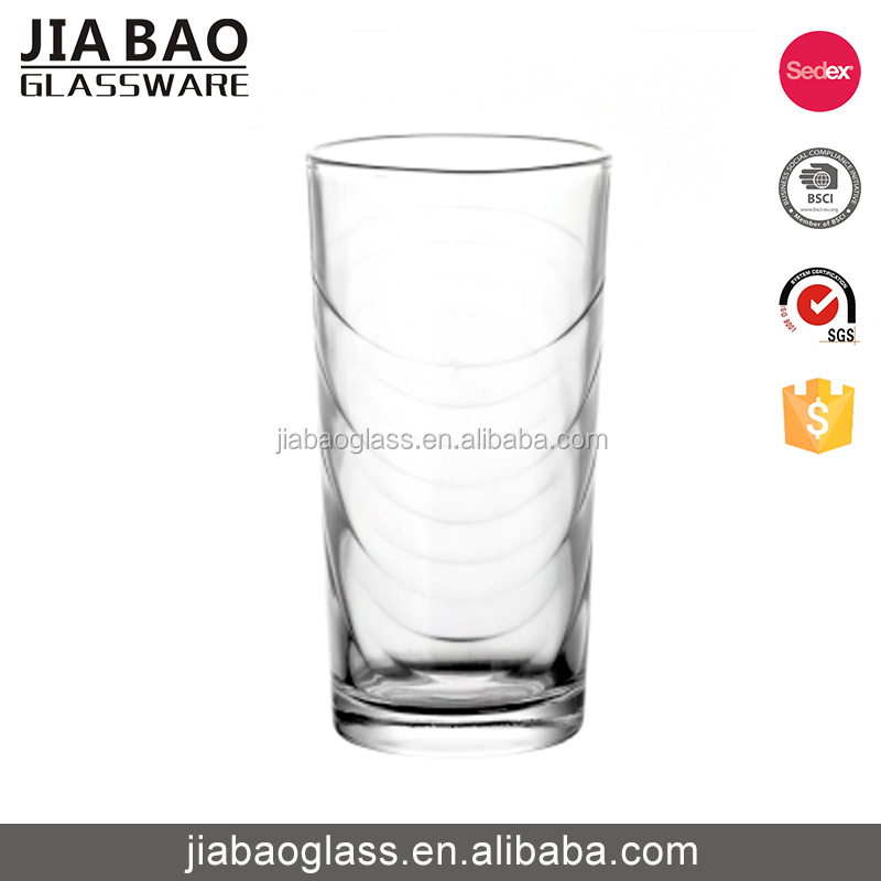 Lovely 256ml drinking water glass cup with round bottom