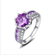 Purple Heart Cut Solid 925 Sterling Silver Engagement Ring Jewelry Manufacturer China