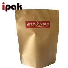 Customized Nature Brown Stand Up Foil Kraft Paper Bag For Milk Powder Packaging Ziplock