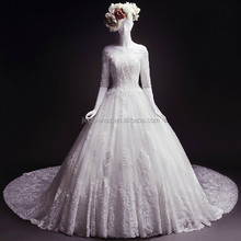 2015 Real sample half sleeves boat neck factory price long train lace wedding gown bridal dress #OW398