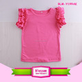 Hot Sale Little Girls Flutter Sleeve Shirt Solid Flutter Tank Knit Cotton Children Clothes Flutter Sleeve Girls Top Baby