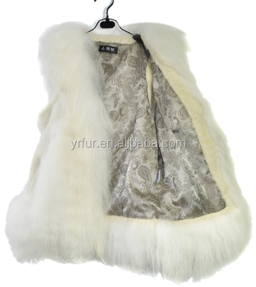 YR197 Beautiful Genuine Long Hair Jinsi Goat Fur Vest Women Fur Waistcoat