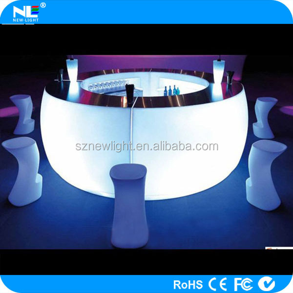 Smart App remote control mobile and portable LED round and shine bar counter for bar and nightclub