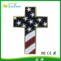Winho metal American flag cross pin