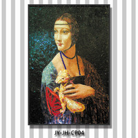 LJ JY-JH-CP04 Famous Lady Portrait Mosaic Painting Handmade Tiles Glass Wall Mural Art Mosaic Picture