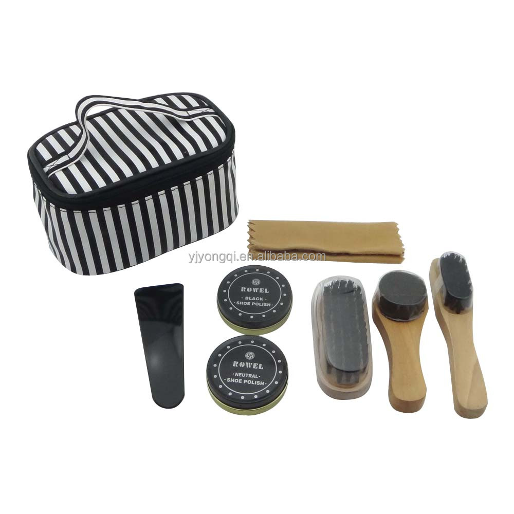 Best Travel Shoe Shine Care Set Wooden Polish Brush Kit Cleaning Tool