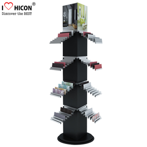 Stone Products Retail Store Large Freestanding Square Metal Rotating Floor Tiles Display Racks