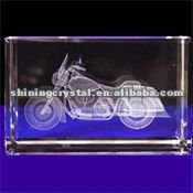 New arrival Lifelike 3D laser engraving Crystal Indian Motorcycle model