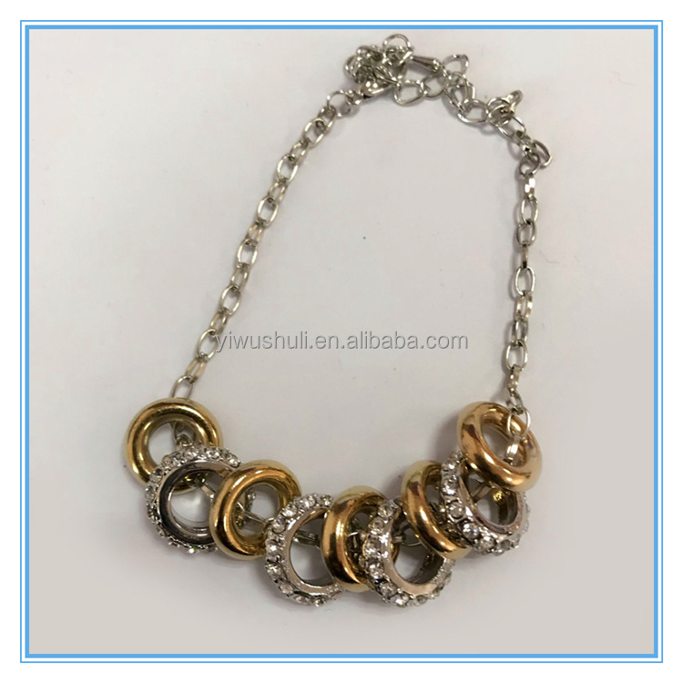 Yiwu jewelry wholesale Happiness strung full diamond geometry nine Ring alloy Bracelet