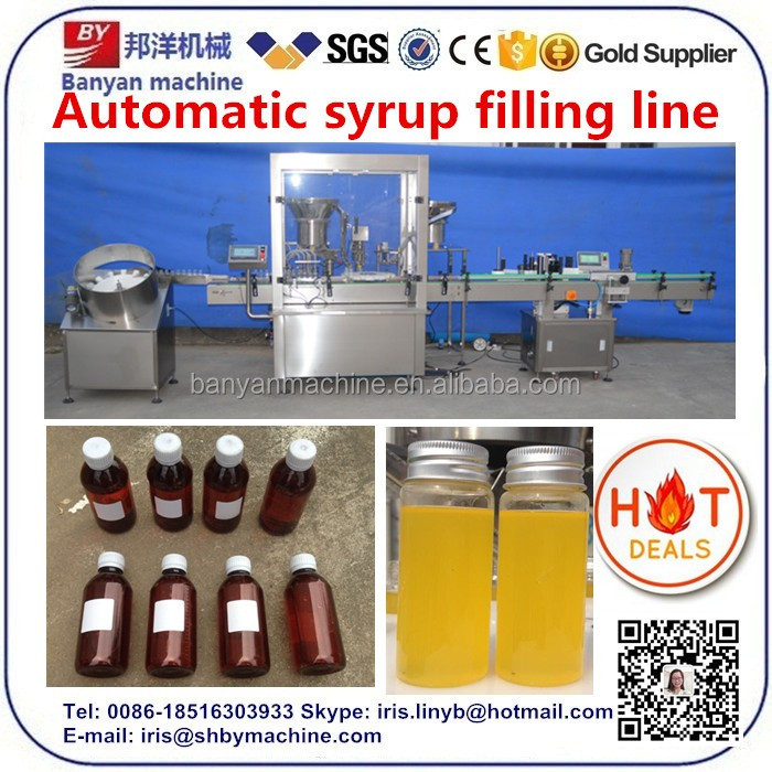 Round glass bottle juice/syrup/liquid filling capping machine