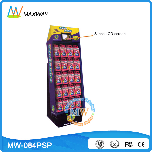 with LCD screen floor stand cardboard business card display