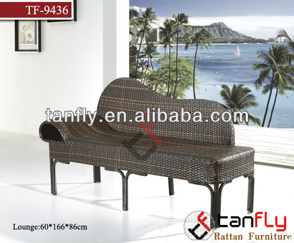 2013 hot sales Shape of the piano rattan wicker sun lounger/beach lounger/pool lounger sofa with side table