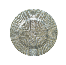 "13"" Round Silver Rattan Glass Charger Plate Wholesale"