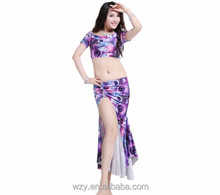 Spandex Handmade Belly Dance Costumes plus size with Fishtail Skirt
