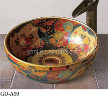 (GD-A09) flower painted colored ceramic sink for bathroom
