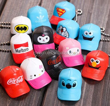 creative cap shaped mini figure, soft plastic keychain, mini plastic cartoon keychain