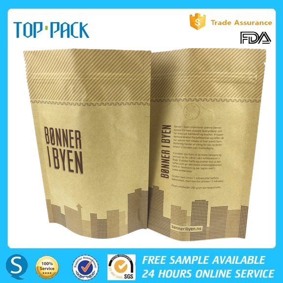 OEM popular style stand up kraft paper zipper valve coffee pouches with foil