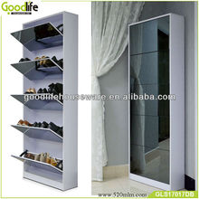 5 layer wall mounted shoe storage mirror cabinet