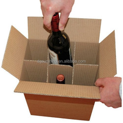 Wholesale custom carton boxes for shipping wine with cardboard dividers