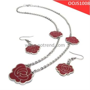 Bling elegant Epoxy enamel filled rose flower bridal jewelry set , evening dress party fashion jewelry set