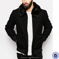 china man wear factory high quality detachable fur collar black wool men winter coats with wholesale prices