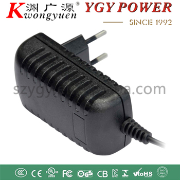 YGY wall mount EU plug 12V1A 2A plastic power adaptor