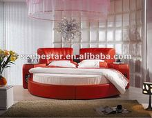 2013 sexy soft leather round bed ,bedroom furniture manufacturer