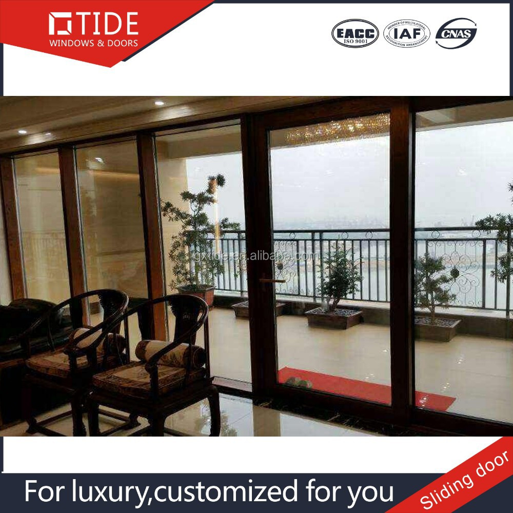 House estate Aluminum main door wood frame glass sliding doors