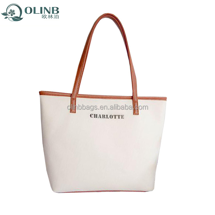Canvas Shopping Bag,Canvas Zipper Leather Bag