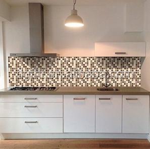 Wall kitchen backsplash decor brown color tones mosaic - Plan de travail en carrelage pour cuisine ...