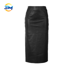 Latest ladies hot sexy high waist pencil skirt slit back fashion leather skirt