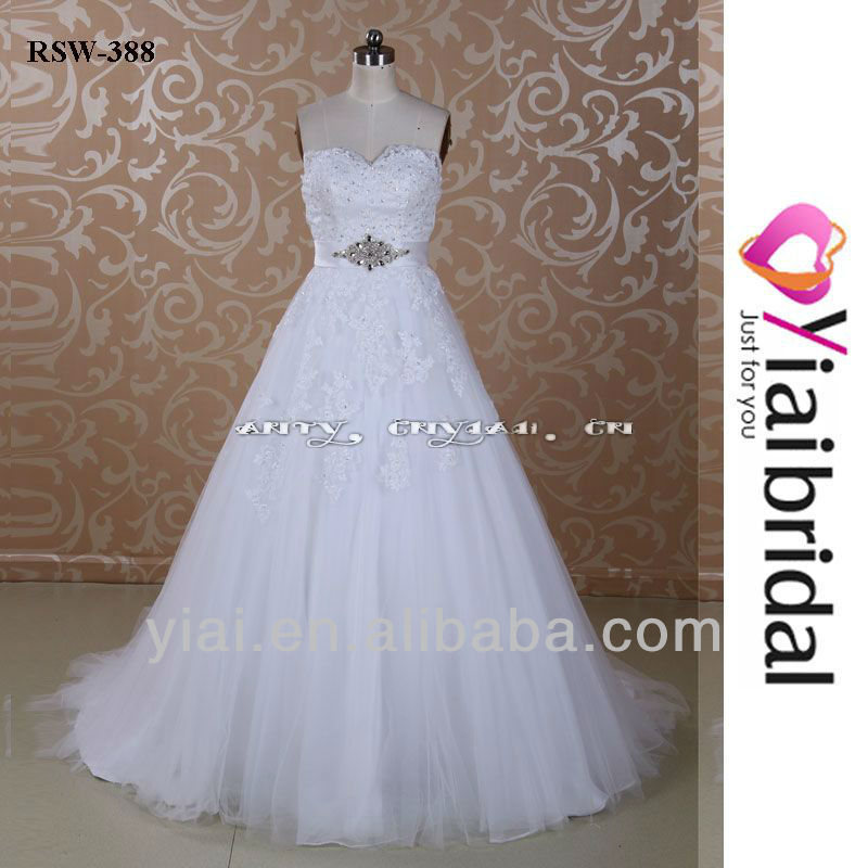 RSW388 Tulle Cover Organza Skirt Wedding Dress Sweetheart Neckline