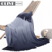Newest Super Soft Dip Dyed Ombre Thick Tricot Knitted Throw Blanket With Fringes