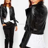 Black long sleeve double buttons zipper decoration leather jacket